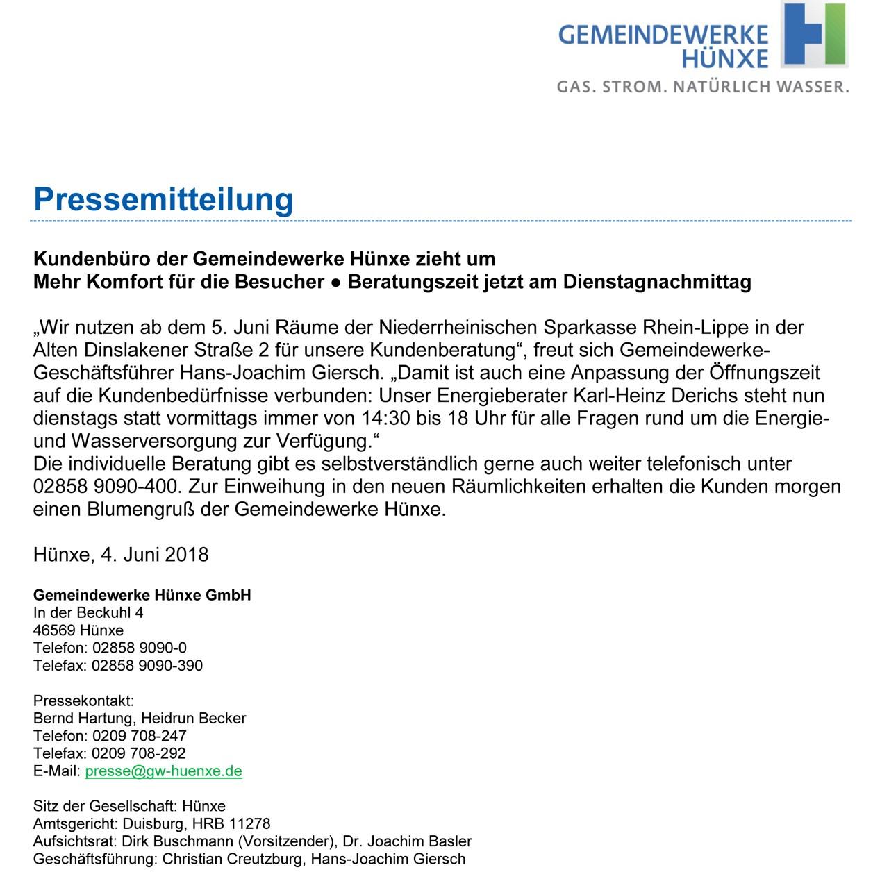 GELSENWASSER Pressemitteilung