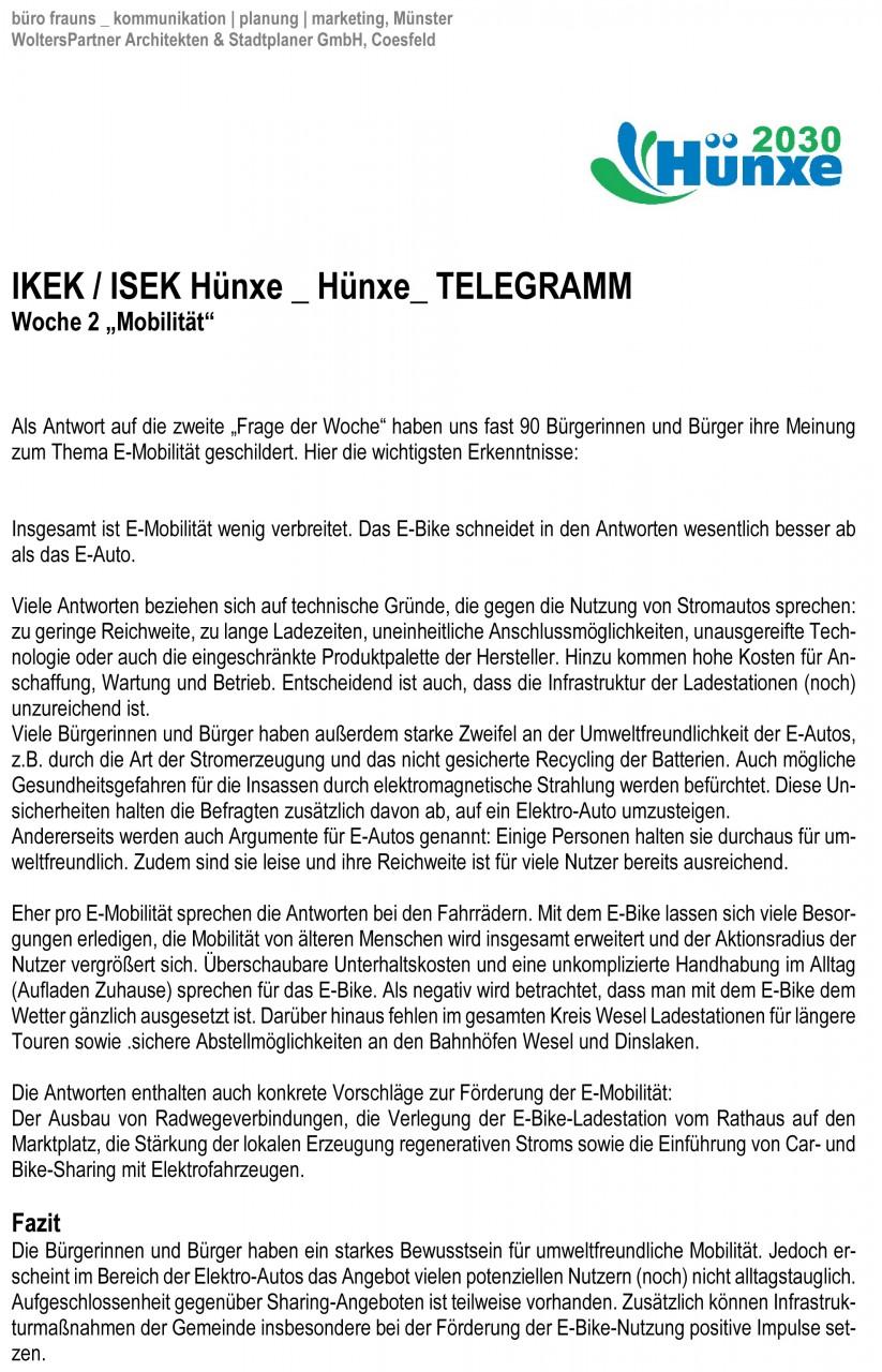 Hünxe_TELEGRAMM Woche 2 _Mobilität Kurztext
