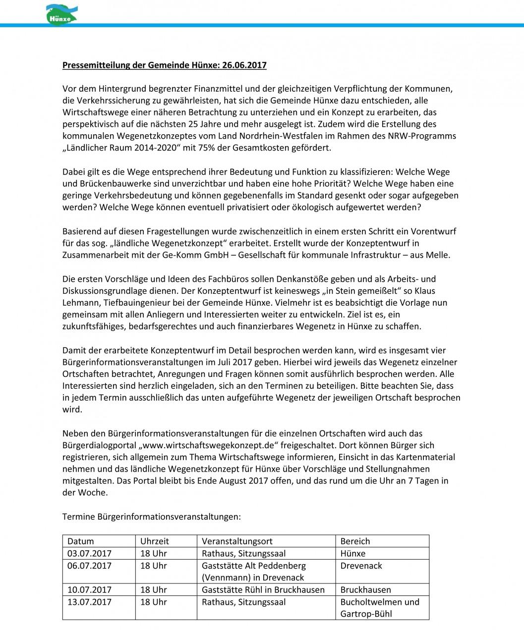 Pressemitteilung Wegenetzkonzept